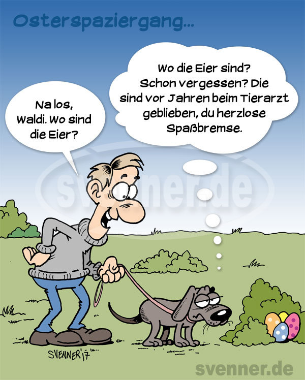 Cartoon Osterspaziergang