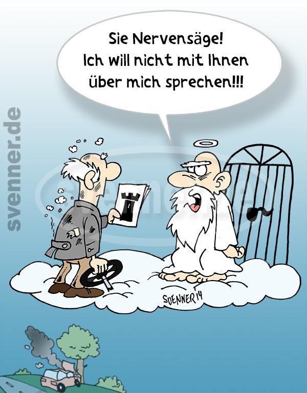 Cartoon Zeuge Jehovas im Himmel ::: svenner.de